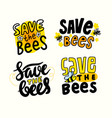 set banners save bees creative design vector image