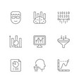set line icons data analytics vector image