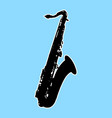 silhouette of saxophone - sax musical instrument vector image vector image