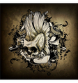 skull with grunge vector image vector image