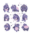 stylized hippo with polka-dotted pattern set of vector image vector image