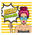 summer time girl pop art banner vector image