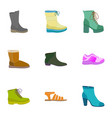 woman shop shoes icon set flat style vector image vector image