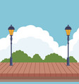 wooden landscape cartoon vector image