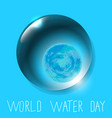 world water day planet earth in water drop vector image vector image