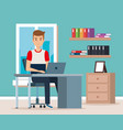 young man in the workplace scene vector image vector image