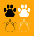 animal footprint set black and white icon vector image