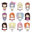 Set collections of cute girls holding blank frames vector image