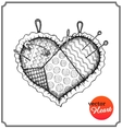 Cushion for needles and pins in shape of heart vector image