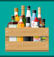 alcohol drinks collection in box vector image vector image
