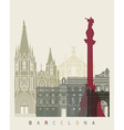 Barcelona skyline poster vector image vector image
