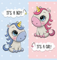 bashower greeting card with unicorns boy and vector image vector image