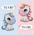 Bashower greeting card with unicorns boy and