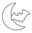 bat and moon thin line icon halloween and horror vector image vector image