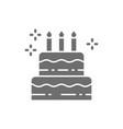 birthday cake holiday torte sweet grey icon vector image