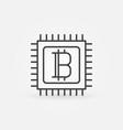 bitcoin in processor line icon vector image