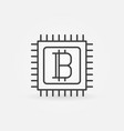 bitcoin in processor line icon vector image vector image