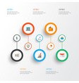 business flat icons set collection of diagram vector image