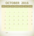 Calendar October 2016 week starts Sunday vector image vector image