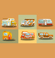 camper vans for travelling colorful collection vector image vector image