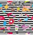 cap sport footwear pizza doughnut cat skull vector image vector image