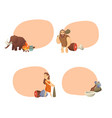 cartoon cavemen stickers vector image vector image
