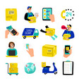 cartoon delivery icons fast delivery vector image