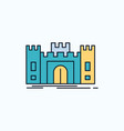 castle defense fort fortress landmark flat icon vector image