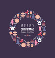 christmas holiday wreath with doodles style hand vector image