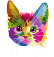 colorful cat head vector image