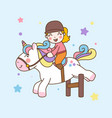 cute girl ride unicorn jump obstacles vector image