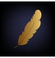 Feather sign Golden style icon vector image vector image