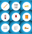 flat icon stationery set of trashcan pushpin vector image vector image