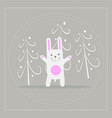 funny cartoon white rabbit in the forest vector image