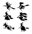 halloween witches silhouettes on broom set vector image