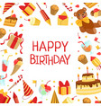 happy birthday banner template with symbols