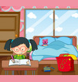 happy girl learning in bedroon vector image vector image