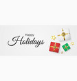 happy holidays with decorative gift vector image vector image
