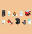 isometric coffee elements set vector image vector image