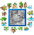 jigsaw puzzle game template with kids in park vector image vector image