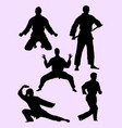 karate martial art gesture silhouette 04 vector image vector image