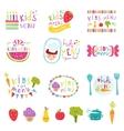 Kids menu stickers set vector image