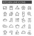 kitchen appliances line icons set on white vector image