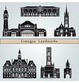 Limoges landmarks and monuments vector image vector image