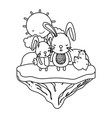 line couple rabbit animal in the float island vector image vector image