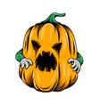monster yellow pumpkin with green hands vector image vector image