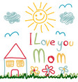 mothers day card made by a child vector image vector image