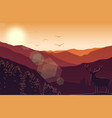 mountain landscape with deer and forest at sunset vector image vector image