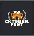 oktoberfest beer mugs logo design background vector image