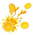 Orange slice with juice splash on white background vector image